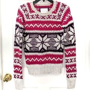 AEO Fair Isle Angora Blend Crew Sweater sz M
